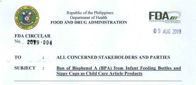 菲律宾禁止在婴儿奶瓶和吸管杯中添加BPA